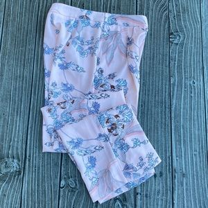 Petal Blush Floral Print Casual Front Pleated Pant